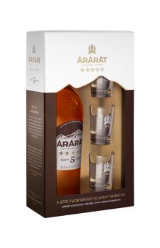 ARARAT  Five Stars with 3 shot glasses